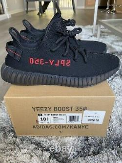 100% Authentic Adidas Yeezy Boost 350 V2 Bred Size 10.5 Black Red with Receipt