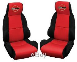 1989-1993 Corvette C4 Neoprene Standard Seat Covers Black/Red withGold Logo 627660