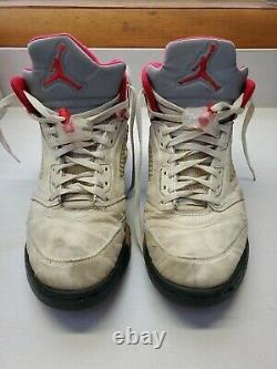 1990 ORIGINAL VTG. NIKE AIR JORDAN 5 Shoes Chicago White Black Red Size 10 1/2