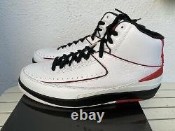 2010 Nike Air Jordan II 2 Retro QF Chicago White/Black/Red 395709 101 Size 11