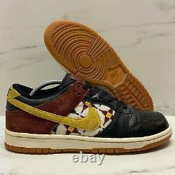 2011 Nike Dunk Low Aztec Pack Size 9 Black / Red / Gum Brown VTG SB 318019 016