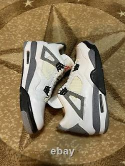 2012 Nike Air Jordan Retro IV 4 White Cement Grey Red Black 308497-103 Men's 11