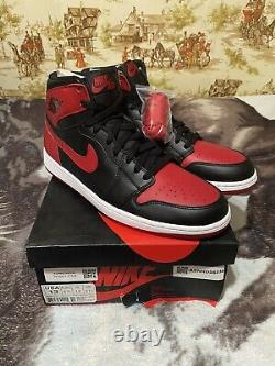 2013 Nike Air Jordan Retro 1 One High OG BRED Black Red White 555088-023 SZ 13