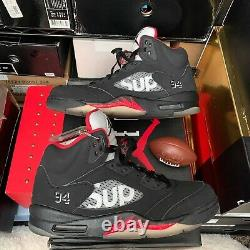 2015 Mens Black Red Nike Air Jordan Retro 5 Supreme 824371-001 Sz 10 VNDS