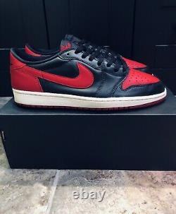 2015 Nike Air Jordan 1 Retro Low OG 705329-001 BRED Black Red Chicago Sz 11