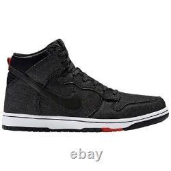 2015 Nike Dunk High CMFT Denim Size 11 Black / Red / White SB 705434 001