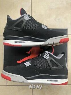 2019 Air Jordan 4 Retro Bred Black/Red Mens Size 9.5 308497-060