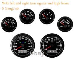6 Gauge Set 200MPH Speedometer Tachometer Fuel Temp Volt Oil Red LED USA STOCK