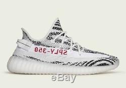 Adidas Yeezy Boost V2 Zebra UK 9 White/Black/Red Dead Stock