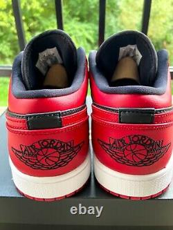 Air Jordan 1 Low Reverse Bred Black Red Size 8.5 Mens 553558-606 Brand New