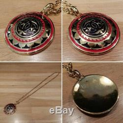Auth CHANEL Medallion Necklace Metal Length 31 Gold Black Red with Box in stock