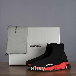 BALENCIAGA 850$ Speed Sock Clear Sole Sneakers In Black & Red