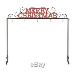Black Red Metal Freestanding Christmas Stocking Holder Stand Holiday Decoration