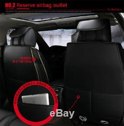 Black & Red PU Leather Car Standard 5-Seat Covers Protector Cushion Breathable