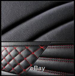Black + Red PU Leather Car Standard 5-Seat Seat Cover Protector Cushions Durable