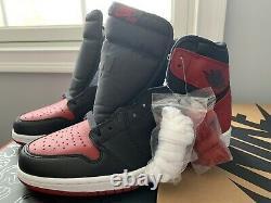 Brand NewDeadstock Air Jordan Retro 1 High OG Banned 2016 Black Red Bred Size 10