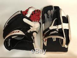 CCM Premier Pro Stock Goalie Catch Glove Blocker Regular PAIR White Red Black