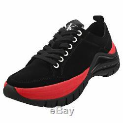 Calvin Klein Tisha Womens Black Red Suede Platform Shoes
