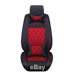 Car Seat Cover Front+Rear Set 5 Seats PU Leather+Ice Silk Black with Red US Stock