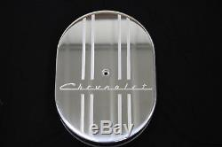 Chevrolet 4 line design 12 Inch Oval Air Cleaner K&N Washable Red/Black filter