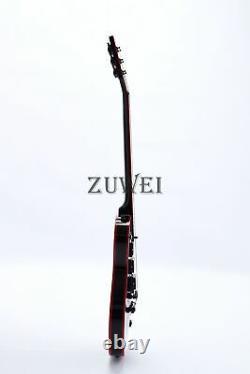 Custom Shop LP Black Beauty Electric Guitar 3pcs Humbuckers Red Binding& Inlay