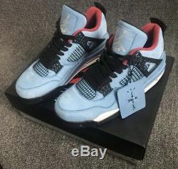 Dead Stock! Air Jordan 4 Travis Scott Cactus Jack Blue Red Black Sz 7.5-13