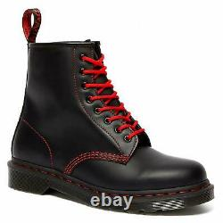 Dr. Martens 1460 Women Colour Stitch Leather Black Red 8 Eye Boots Size 25827001