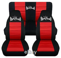 Front+Rear car seat covers black-red withmountain sunset fits wrangler YJ /TJ /LJ