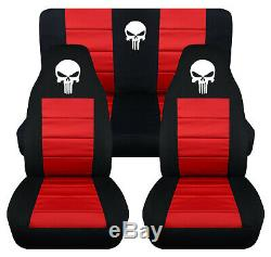 Front+Rear car seat covers black-red withpunisher skull fits wrangler YJ /TJ /LJ