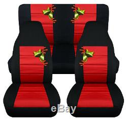 Front+Rear car seat covers black-red withtree frog fits wrangler YJ /TJ /LJ