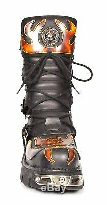 Genuine Leather Retro Boots Latest New Rock Black Red Flame Gothic Lace Up Boots