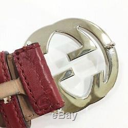 Gucci SHIMALINE Men, Women Leather Standard Belt Black, Red Color