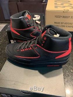 Jordan 2 Retro Dead stock black Red size 10