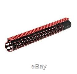 Leapers UTG MTU019SSKR2 Pro Keymod 15 Super Slim Rail Black & Red Rifle