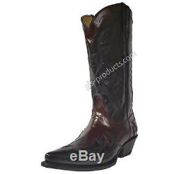 Mezcalero 5034 Wine Cowboy Boots Flames Black Burgundy Red handmade real leather