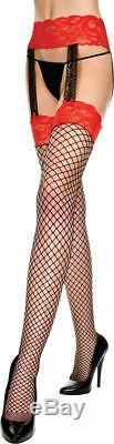 Morris Costumes Women's Suspender Garter Stockings Black Red One Size. ML7995BR