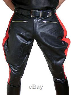 Motorcycle trousers pants black red leather pants gay leather uniform BREECHES