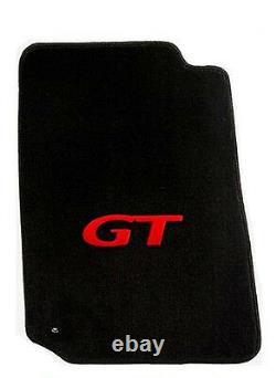 NEW! 1994 2004 Mustang Black Floor mats with GT Logo RED Set 4 Carpet In Stock