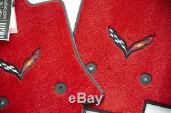 NEW Chevrolet Corvette C7 Floor Mats Adrenaline Red Carbon Black Flags IN STOCK