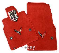 NEW! Chevrolet Corvette C8 Floor Mats Adrenaline Red Black Flags Logo IN STOCK