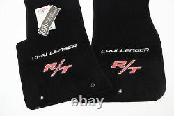 NEW! Dodge Challenger R/T Floor Mats 2PC Silver & Red Logos In Stock