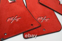 NEW Dodge Charger R/T Floor Mats Bright Red Black Binding Red Stitching IN STOCK