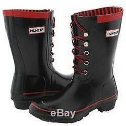 NEW Hunter Rain Boot Festival Lace up Black Red 6 7 38 Tie Short Mud Mid Calf