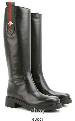 NIB 100% Authentic GUCCI Classic Women's 40 Black Tall Boots Green Red Bee