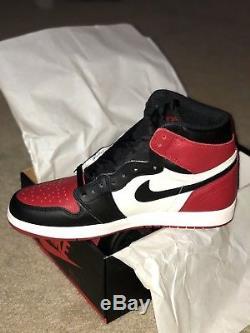 NIKE AIR JORDAN 1 RETRO HIGH OG BRED TOE BLACK / RED 100% Dead Stock Size 4Y