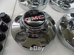 NOS Set Of 4 OEM GMC C1500 Pickup Chrome Center 5 Lug Caps With Lug Nut Covers