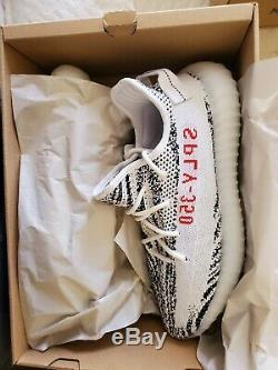 New Adidas Yeezy 350 Boost V2 1CP9654 Zebra White/Black/Red size 10.5 dead stock
