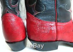 New NOCONA 6.5 EE Red Lizard Black Leather Made In USA Cowboy Boot OLD STOCK