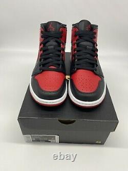 New Nike Air Jordan 1 Mid Banned Bred Black Red 554724-074 Men Size 8