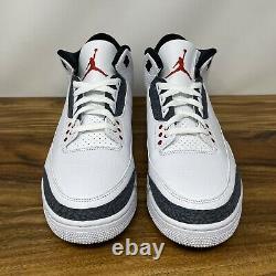 New Nike Air Jordan 3 Retro Denim Size Men 11 (CZ6431-100) White Black Fire Red